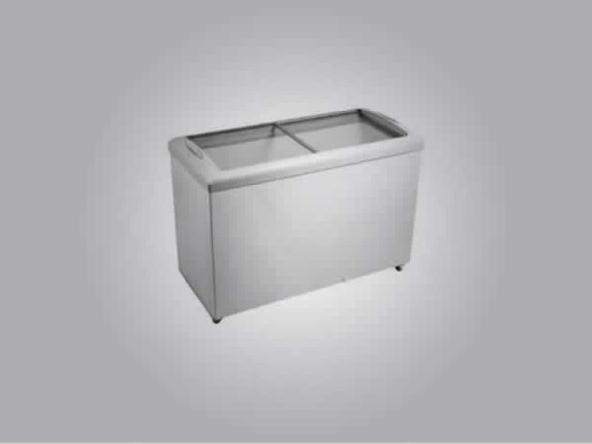 Varginha - Freezer Horizontal Reubly nº 987056 Cor branca, tampas de correr em vidro,funci