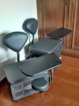 Itaúna - Carrinho para manicure Completo, com pequeno assento e suporte de mão, na cor pre